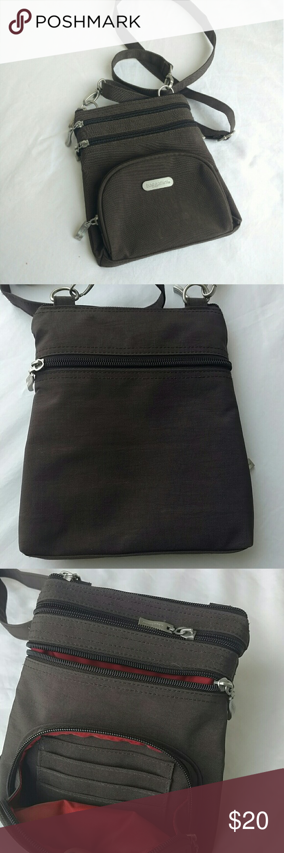 Baggallini cross body bag Three outer front pockets, one with credit card slots, one back outer pocket. Main compartment has pencil holders and one zippered pocket. Adjustable straps  Metal hardware  Chocolate brown outter Inside red lined Baggallini Bags Crossbody Bags