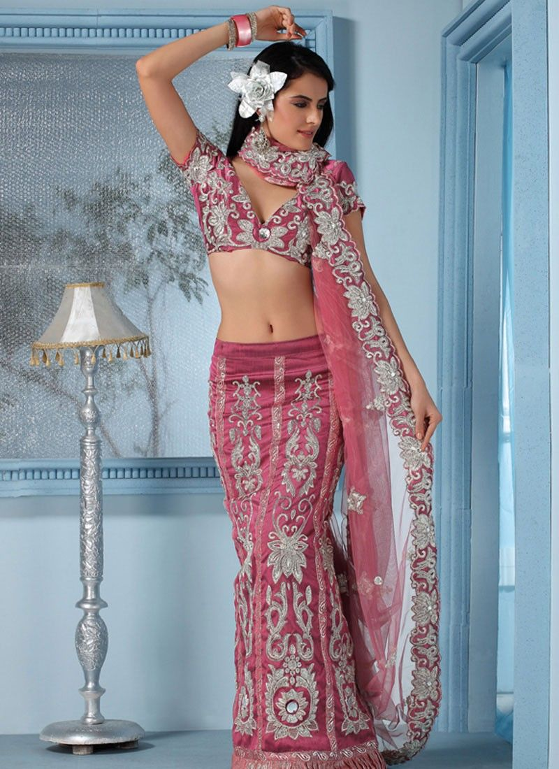 Pink Lehenga Style Saree With Fancy Sequin And Thread Work | Dress ...