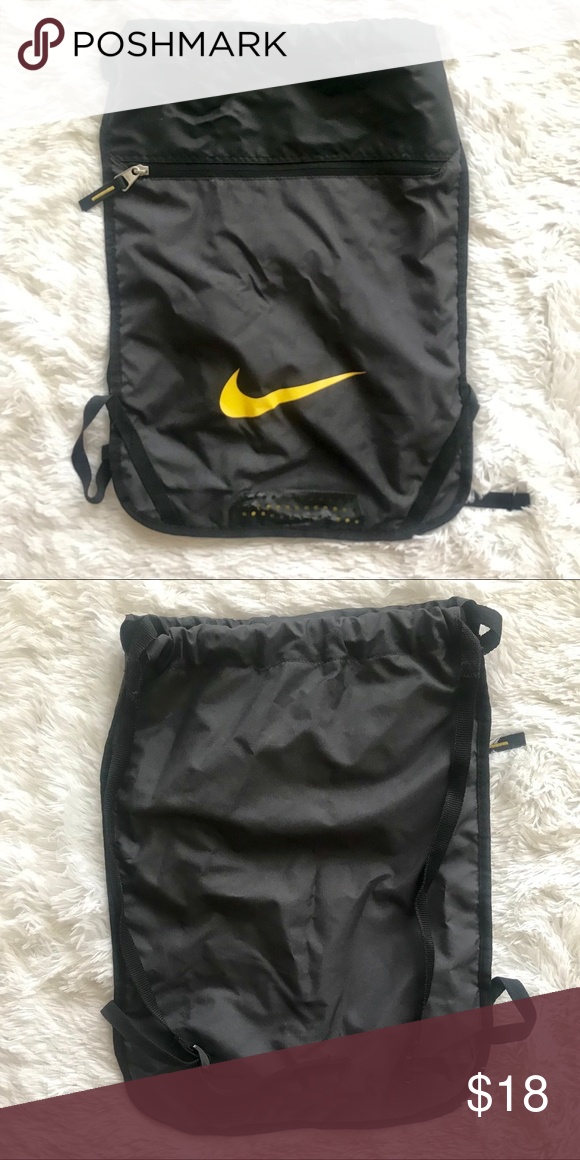 check out a5f5e 2a72b Black nike drawstring bag Black nike drawstring bag Yellow check mark  Inside pocket and outer zip pocket Nike Bags Backpacks