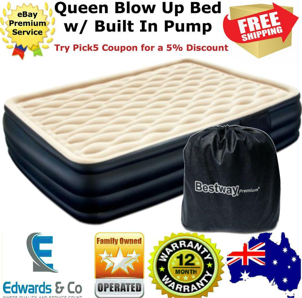 Blow Up Bed Queen Mattress Built In Pump Carry Bag Repair Patch