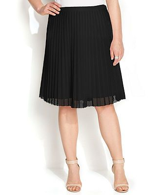 03ab37f66e Calvin Klein Plus Size Pleated Mesh A-Line Skirt (Also available in white)