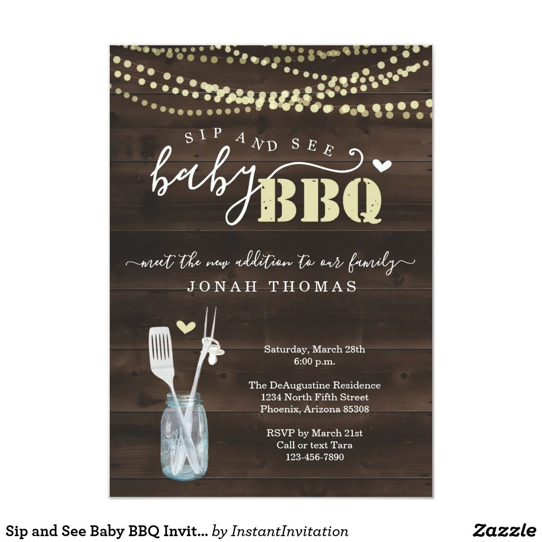 Sip and See Baby BBQ Invitation Baby Q Barbeque | Zazzle