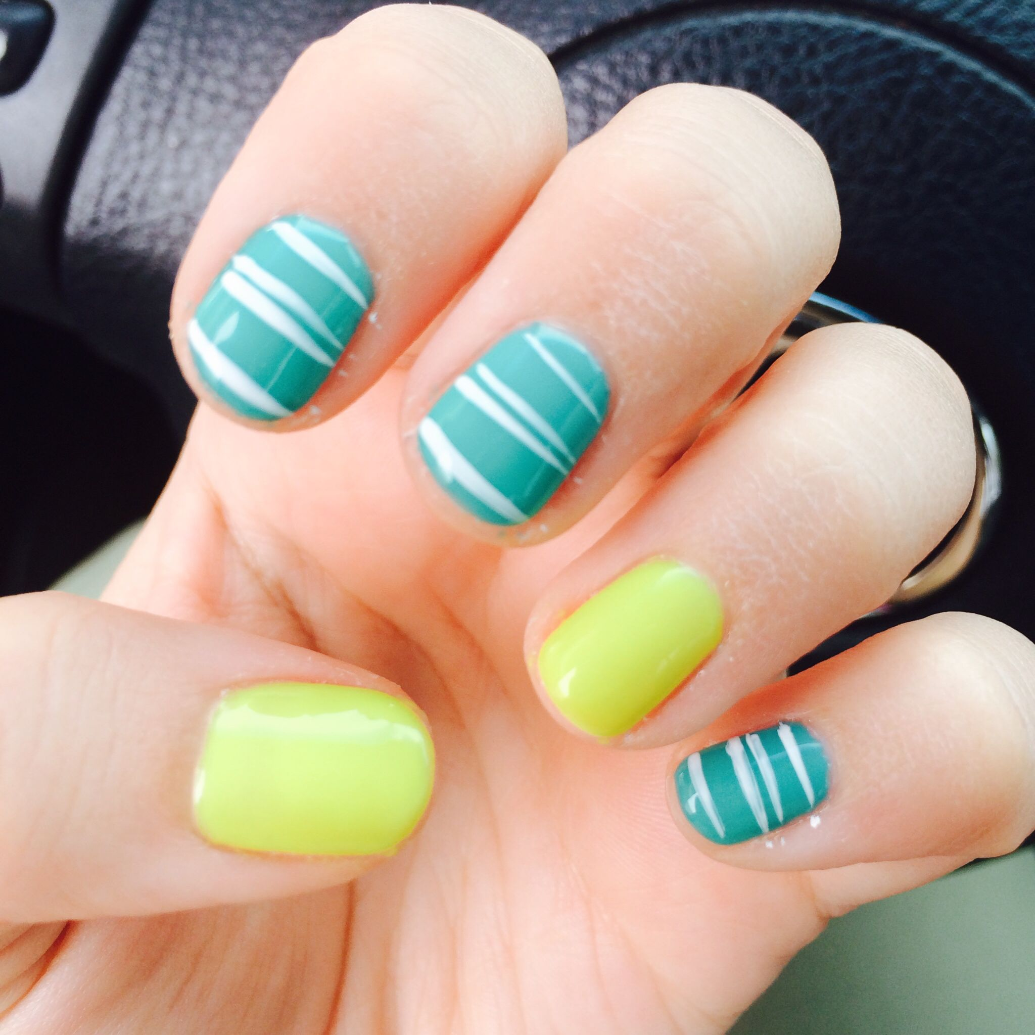Yellow Nail Polish Toenails: Neon Yellow And Teal W/white Stripes. Perfect Summer Nails