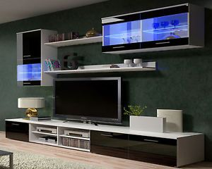 Tv Wall Units Stand Cabinets High Gloss Black White Modern Furniture Ebay