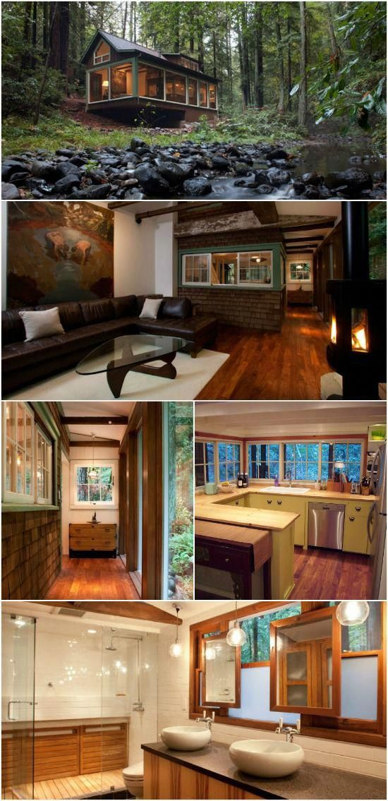 Rustic on the outside modern inside check out this   creekside cabin nestled  in northern californ home design also rh pinterest