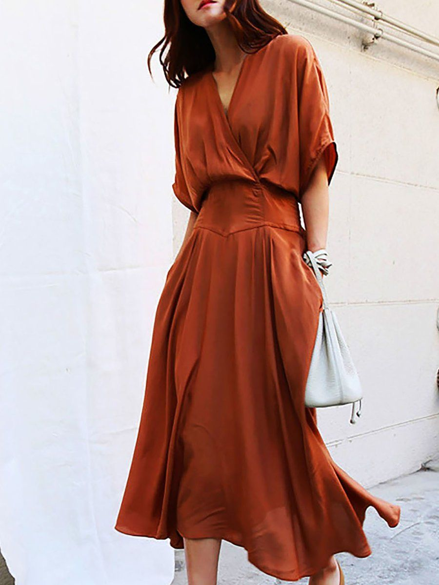 fe48e715785 V neck Swing Daytime Half Sleeve Casual Midi Dress