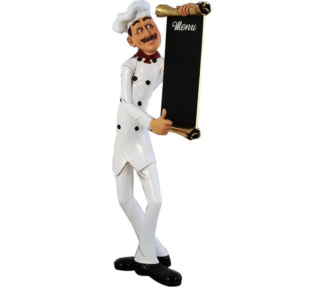 Skinny Chef Statue With Menu Board
