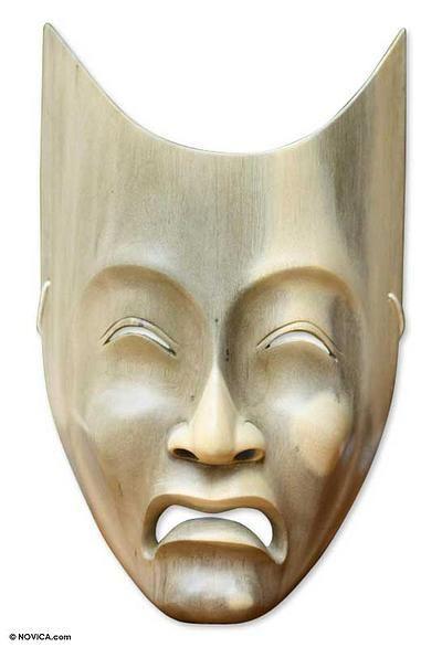 Wood mask, 'Face of Sadness' by NOVICA