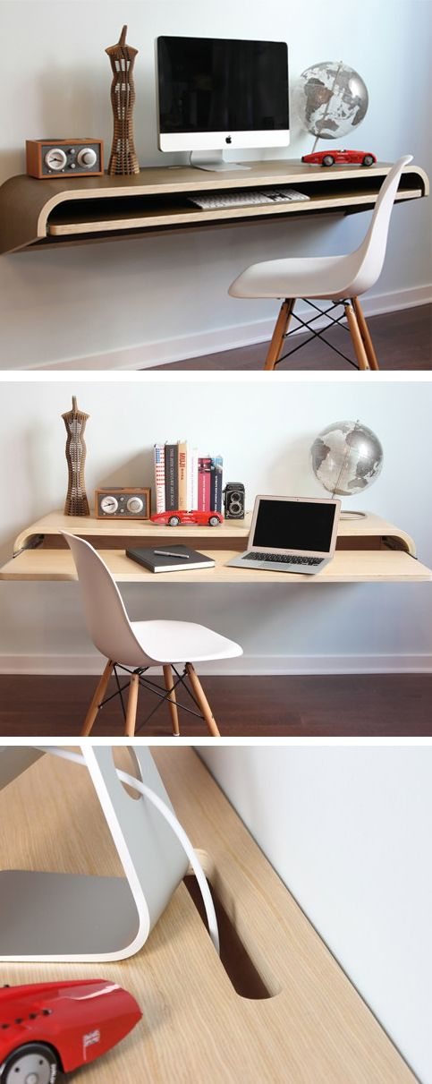 Love this Minimal Float Wall Desk. Perfect for a tight urban living space.