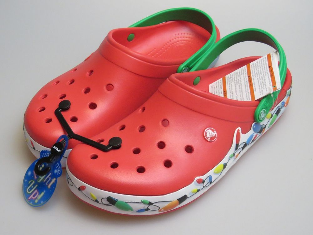 Crocs Crocband Holiday Lights Christmas Red Clogs Slip On Shoes Men S Us 12 New Crocs Clogs Slip On Shoes On Shoes Crocs