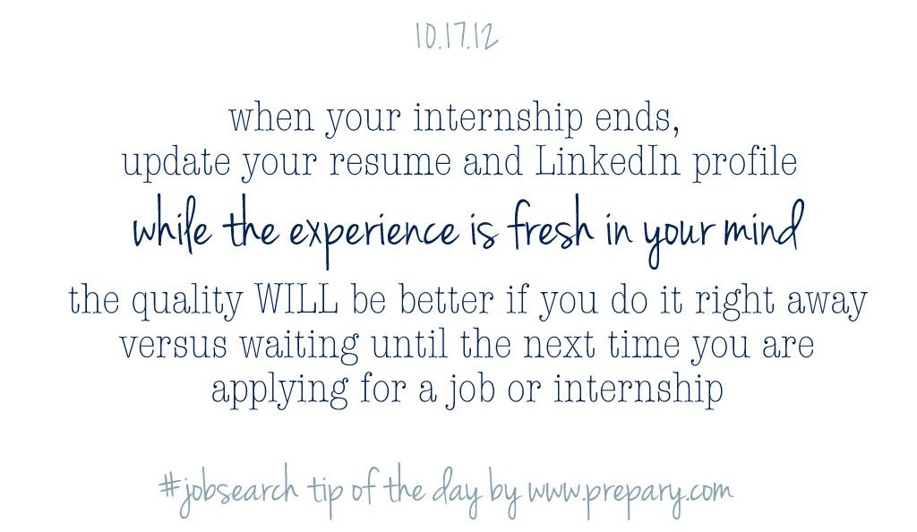 Update your resume and social media profile consistently