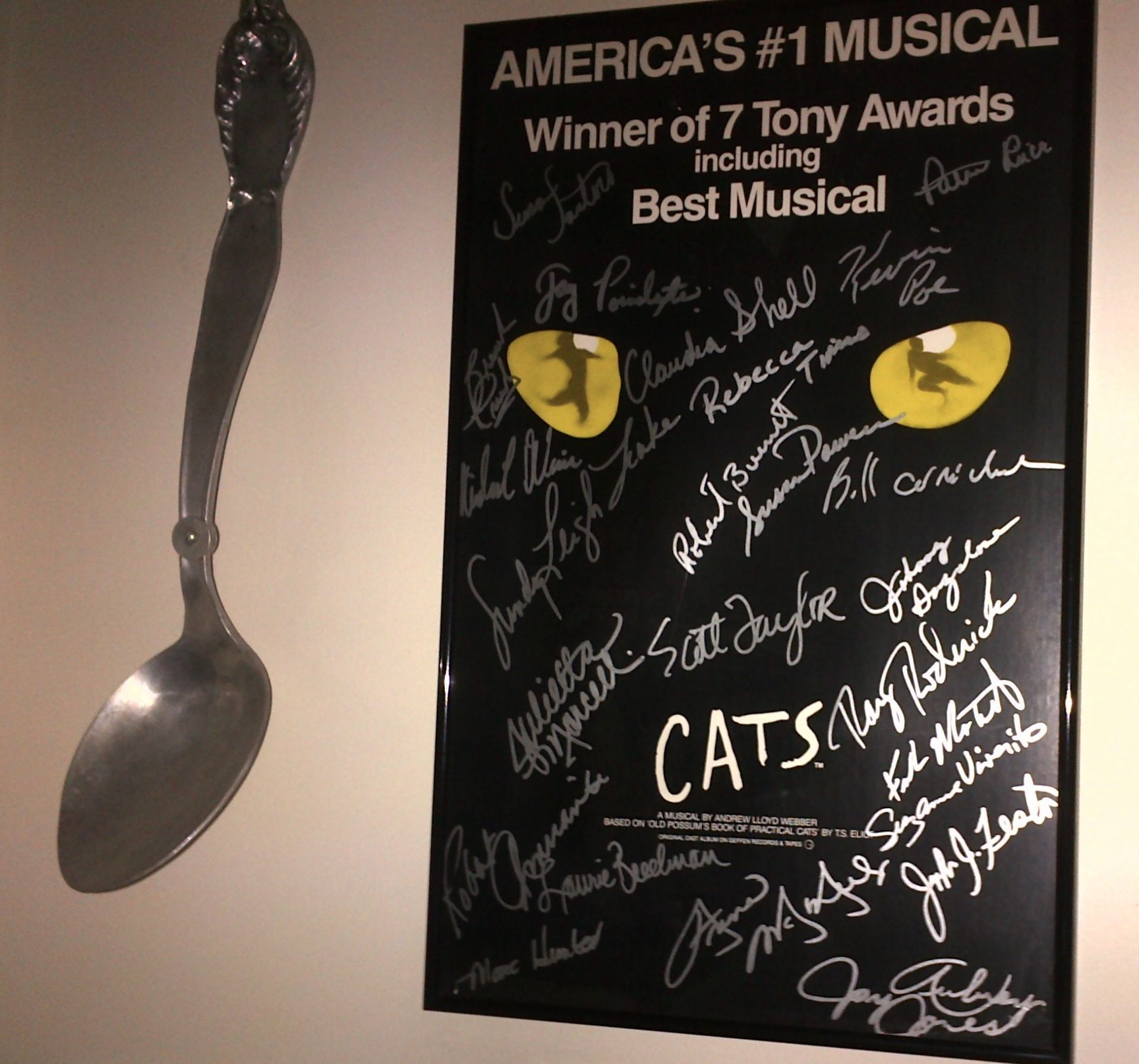"My CATS spoon directly off the set of CATS when it close on Broadway and had its ""Garage Sale,"" that auctioned off Cats props, costumes and other memorabilia when the show closed.  And my autographed poster, of which the proceeds went to Broadway Cares."