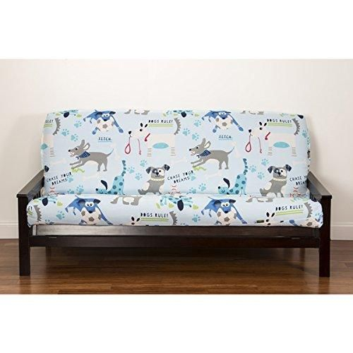Puppies Themed Futon Cover Cute Faces Dogs Pattern Adorable Colorful Pet Animal Bedding Abstract Black Blue