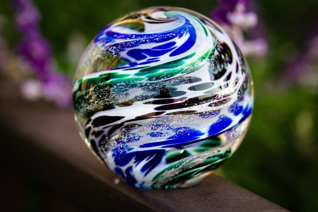 Glass Orb With Cremation Ash From People And Pets Artful Ashes Swirls Crystal Ball
