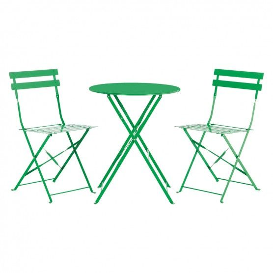 PARC 2 seat green metal folding bistro table and chairs set ...