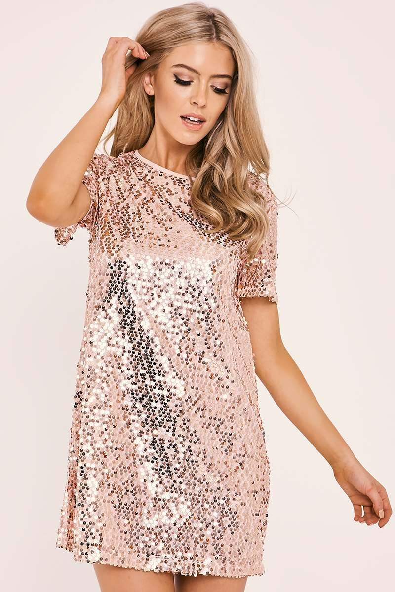 60fb93e9 Madeline rose gold sequin t shirt dress in 2019 | Christmas party ...