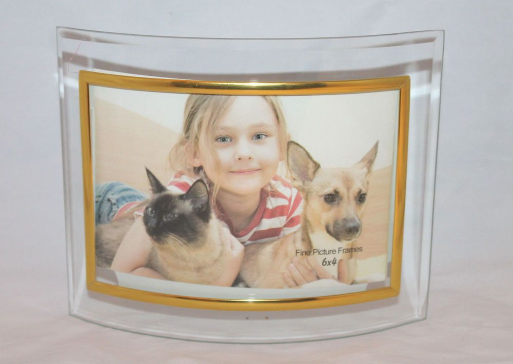"""Glass picture frames 6"""" x 4"""" classic curve self standing"""