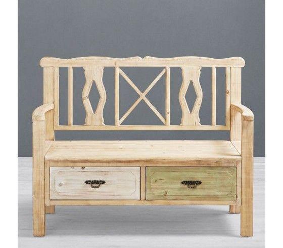 2-Sitzer Bank im Vintage-Look in Naturbraun - ein Sitzplatz mit Stauraum