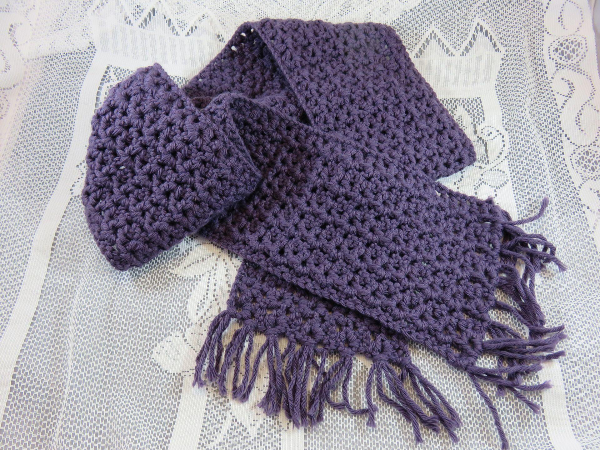 Echarpe laine au crochet jolie point fantaisie modele fille et femme phildar couleur mure - Point fantaisie tricot phildar ...