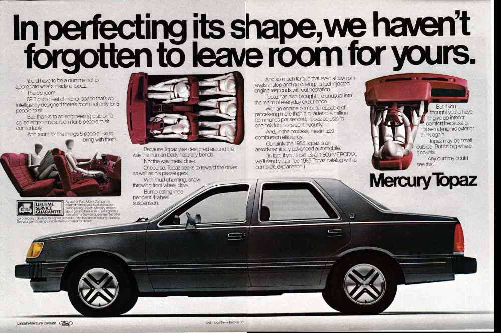 1985 Mercury Topaz Aerodynamic 4 Door Hardtop Dummys Original Etsy Mercury Retro Cars Topaz