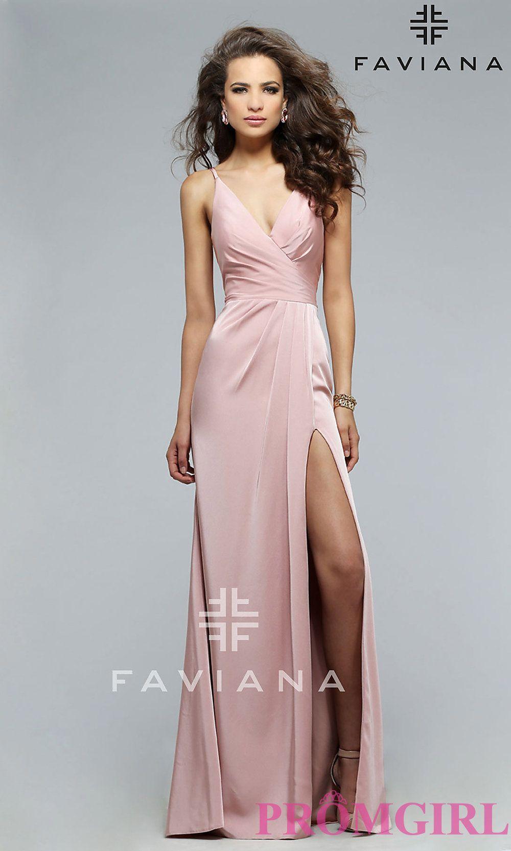 0d8524eb8f90 Image of floor length v-neck side slit ruched back dress Style: FA-7755  Detail Image 2