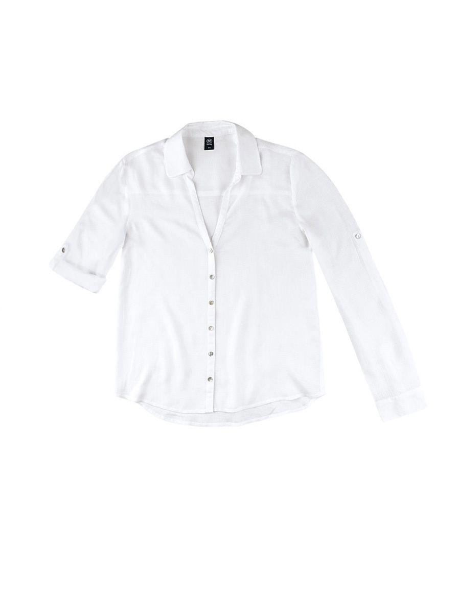 cd552250ef9bc Camisa Feminina Em Viscose Com Abertura Frontal