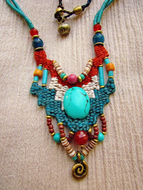 Woven necklaceFiber & Beads by DusdeeCreations on Etsy