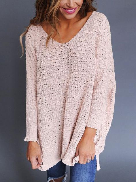 fb9f0a96c Pink V Neck Chunky Knit Oversized Sweater