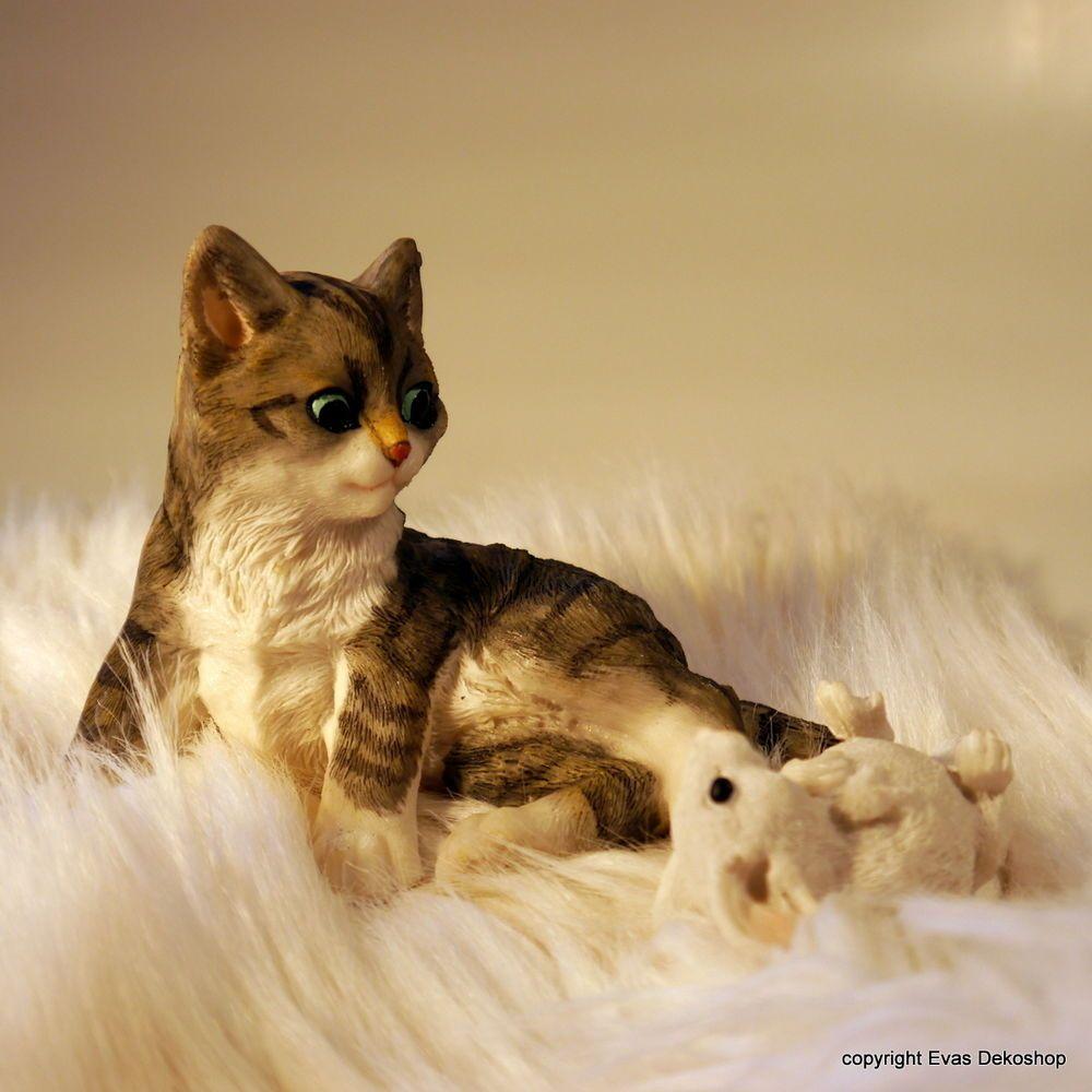 Katzenkind & Maus Set Katzen Neu Tierfiguren Gartenfigur Katze ...