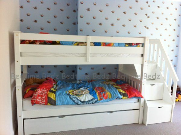 Staircase Bunk Bed, White, Waxed Built In Storage Steps   Bedtime Bedz