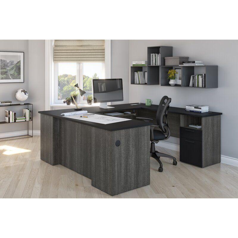 Bronwen Reversible U Shape Executive Desk With Built In Outlets U Shaped Office Desk L Shaped Executive Desk Home Office Design
