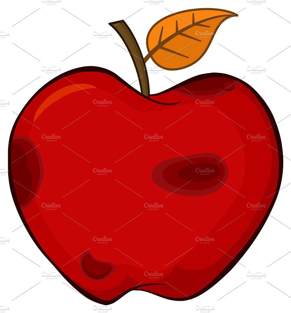 Rotten Red Apple Fruit With Leaf Apple Fruit Red Apple Apple