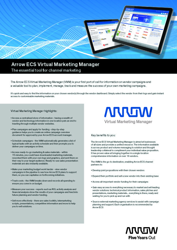 Arrow ECS Virtual Marketing Manager, for the latest vendor - vendor analysis