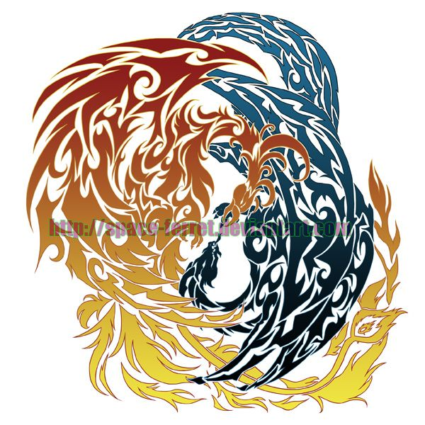 phoenix dragon tattoo design by space on deviantart tattoo ideas. Black Bedroom Furniture Sets. Home Design Ideas