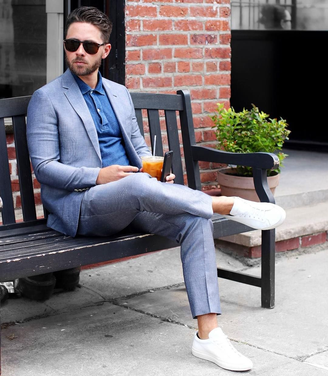 Love the fact that my new @indochino  #suit  is so versatile. After a long day all you need to make this a happy hour ready outfit is a polo and a pair of @commonprojects 🙏