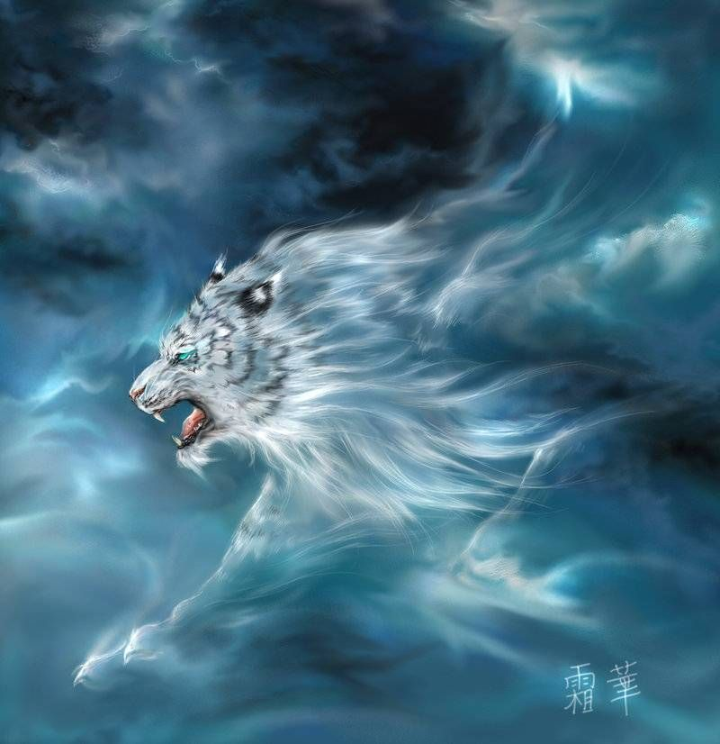 Byakko Also known as the White Tiger of the West 西方白虎 Byakko (or Bai Hu in Chinese) is one of the Four Symbols of the Chinese Constellation, along with Genbu (Black Tortoise) Seiryuu (Blue Dragon) and Suzaku (Red Sparrow). Byakko represents the West, the autumn season and the element of Metal (Wind in the Japanese system).