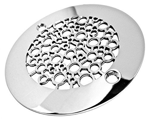 Designer Drains Brushed Nickel Nature Bubbles Round Decorative - Decorative square shower drain cover