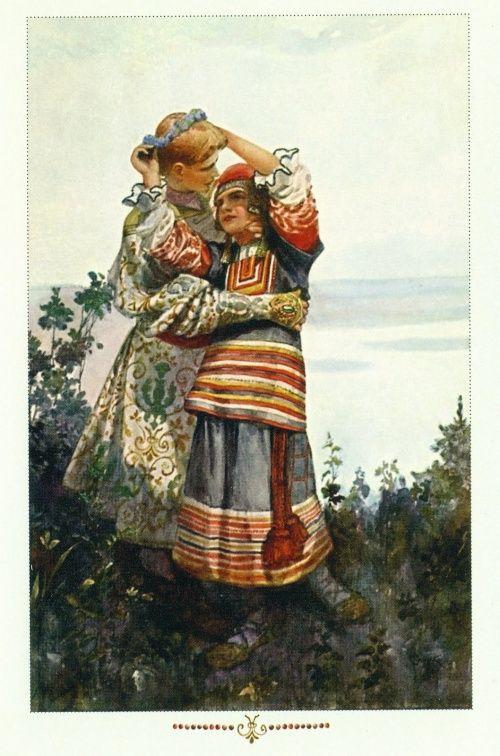 Старые открытки в русских костюмах