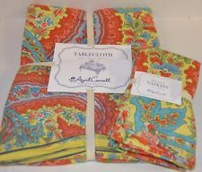 APRIL CORNELL Coral Yellow Blue French Provencal TABLECLOTH & 4 NAPKIN SET NEW