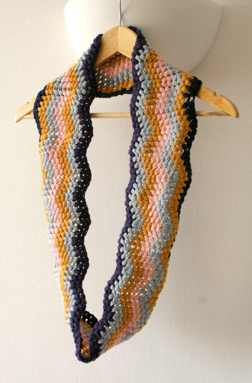 Infinity Scarf, Cowl crochet pattern, chevron puff stitch PDF ...