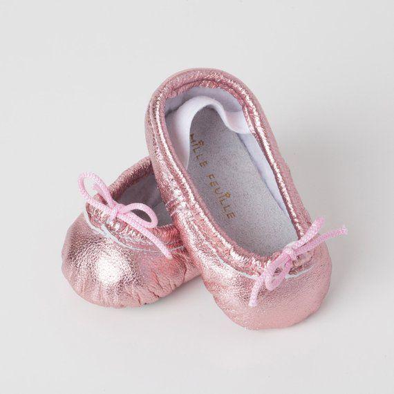 6c21ac834 Baby Ballet Slippers - Metallic Pink- premie newborn toddler ballet ...