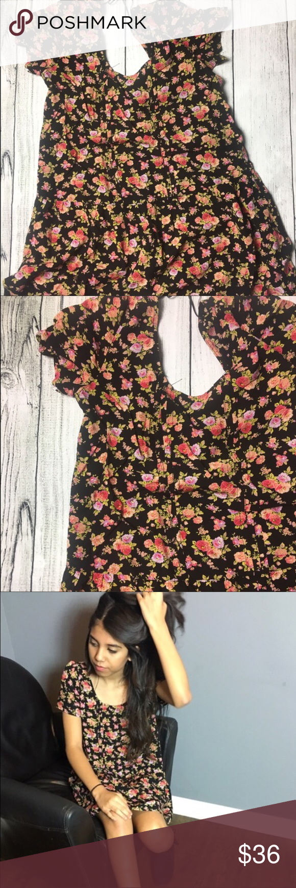 "🆕Beautiful flower print dress ❤ This very cute midi black dress with flower print all over. Very cute with some tights or leggings for this cold weather or with flip flops on those warm and sunny days! Made out of 100% rayon materials. MEASUREMENTS- length: 31"" width- 17.5"" ❤️️ Dorimas closet Dresses Mini"