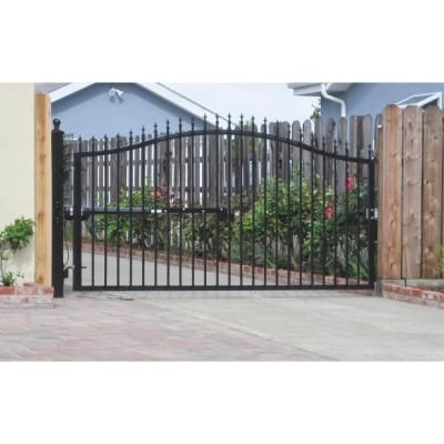 Mighty Mule St Augustine 12 Ft W X 5 Ft H Powder Coated Steel Single Driveway Fence Gate G1512 Kit The Home Depot Driveway Fence Fence Gate Driveway Gate