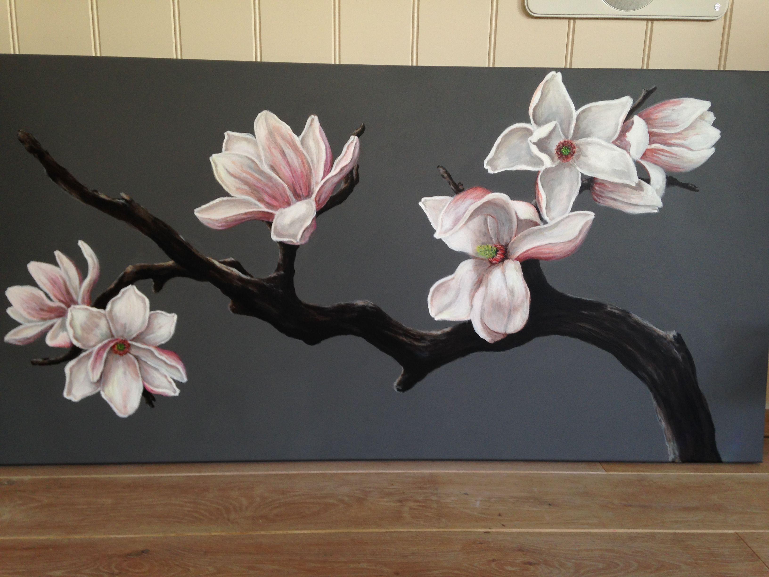 magnoliatak acrylverf 70x140cm.