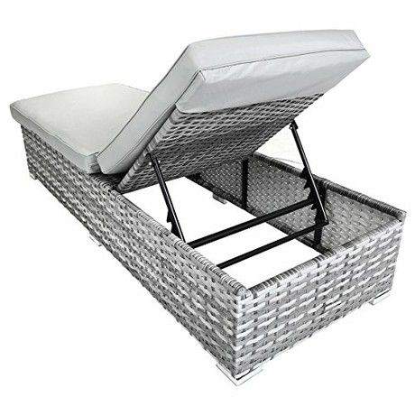 Charles Bentley Premium Rattan Sun Lounger Garden Patio Furniture Chair - Grey