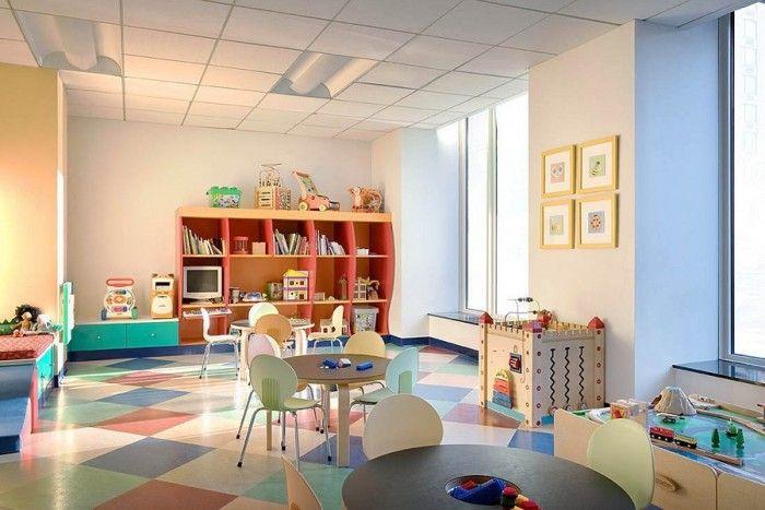 I Really Like This Floor Kids Woody Chalkboard Table And Orange Wall Shelf Also Blue White Sideboa Kids Playroom Decor Playroom Design Modern Kids Playroom Decorate kids playroom floor with