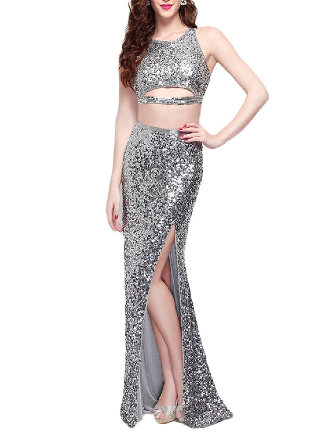 Promcc womens sequins two piece prom dress split sexy formal evening