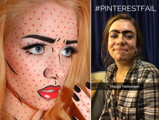 Halloween comic strip makeup is painted as a #pinterestfail ...