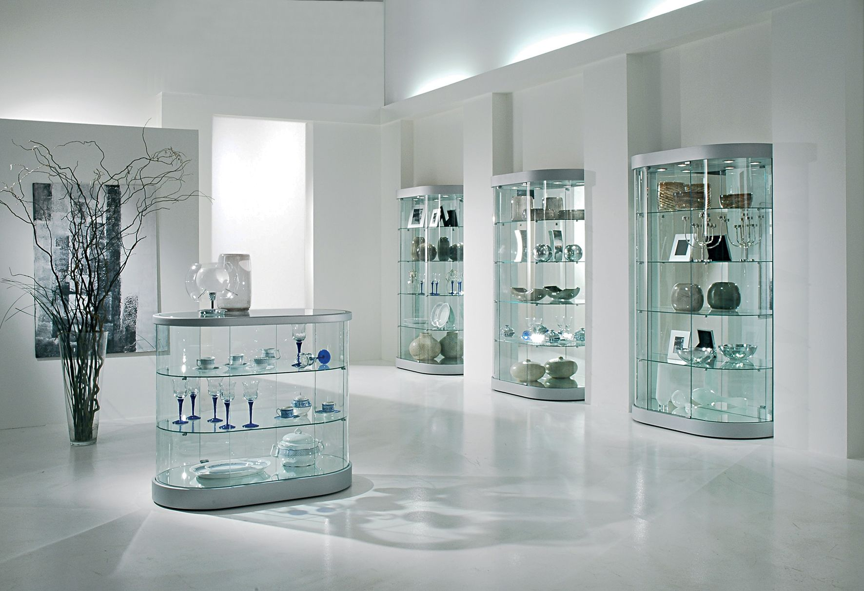 Elegance Range of display Cabinets are high quality round and oval class display showcases.