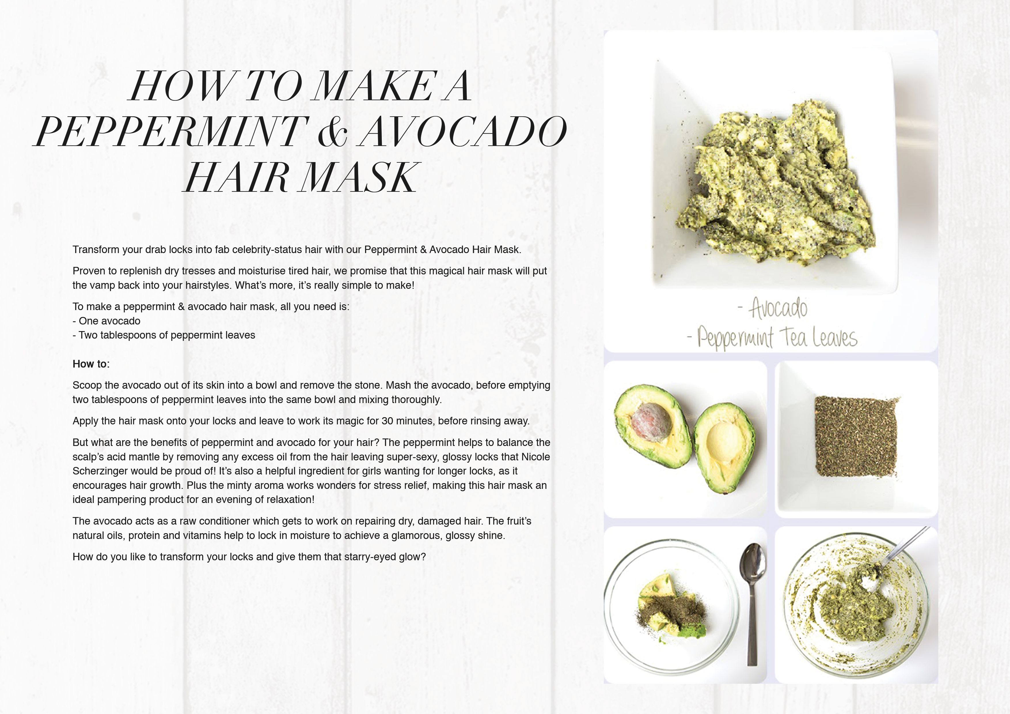 How to make your own avocado and peppermint conditioner  Natural